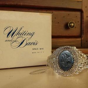 Whiting & Davis Intaglio Hematite Filigree Bracele